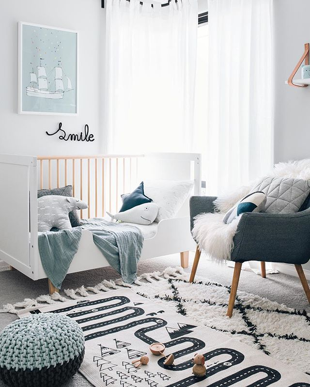 YN: Color Inspiration>>>  This is another twist on black and white where soothing cool Blues were added in the decor to create a cozy space for caring for baby. #1NurseryDesign #PinParty #YouthfulNest