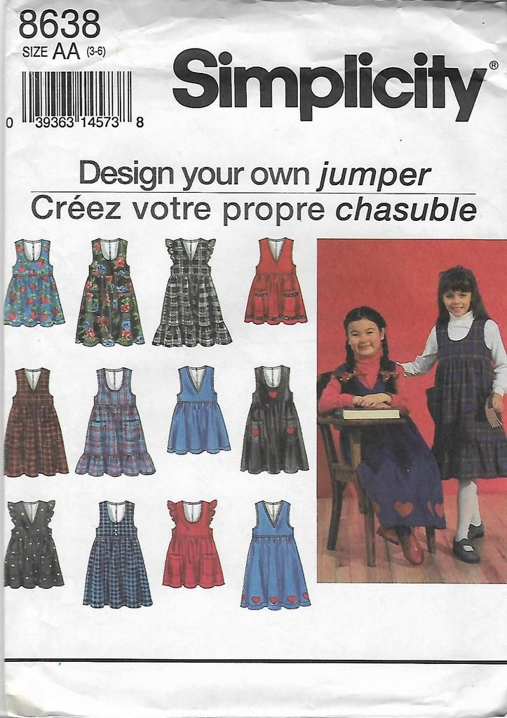 763598a5781e 90 s Simplicity 8638 Design Your Own Girls  Jumpers Sewing Pattern ...