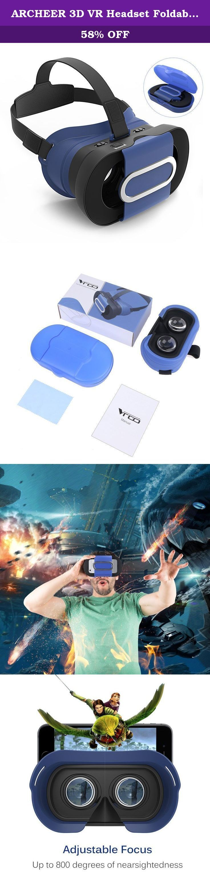ARCHEER 3D VR Headset Foldable Virtual Reality 3D Glasses Lightweight Portable Video Movie Game VR Box with Protective Case Compatible for iPhone 7/6s Samsung and Other 4-6 Inch Smartphones Blue. Portable on the go Folded only 35mm, Archeer 3D VR headset is only 200 grams which allows you watch 3D movies anywhere, even on the go. Comfortable 3D experience 100% new brand made of high quality, durable with exquisite appearance comfortable to wear and compatible with iOS and Android. Focal...