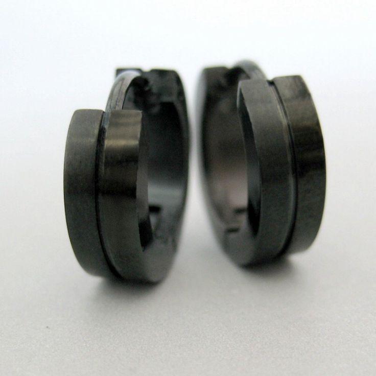 Black stainless steel earrings, guys earrings, mens earrings, huggie hoop earrings, EC153