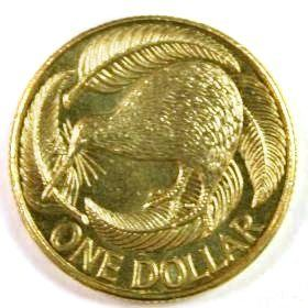 A New Zealand one-dollar coin