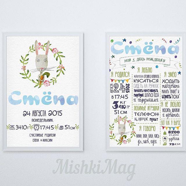 Сэт из двух постеров в одной стилистике с зайкой  для оформления праздника…