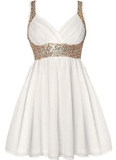 Grecian Glitz Dress | Gold Sequin White Babydoll Dresses | Rickety Rack