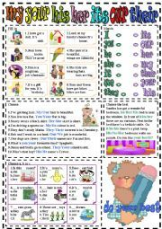 English Worksheets: my-your-his-her-its-our-their