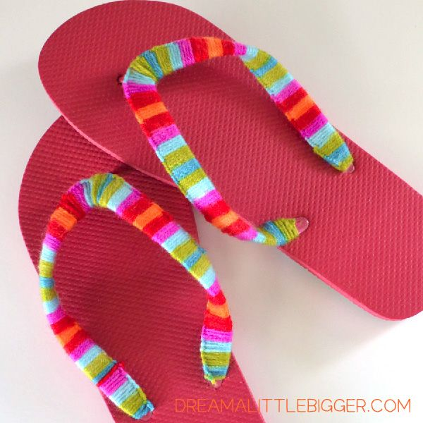 Yarn Wrapped Flip Flops Tutorial! - Dream a Little Bigger