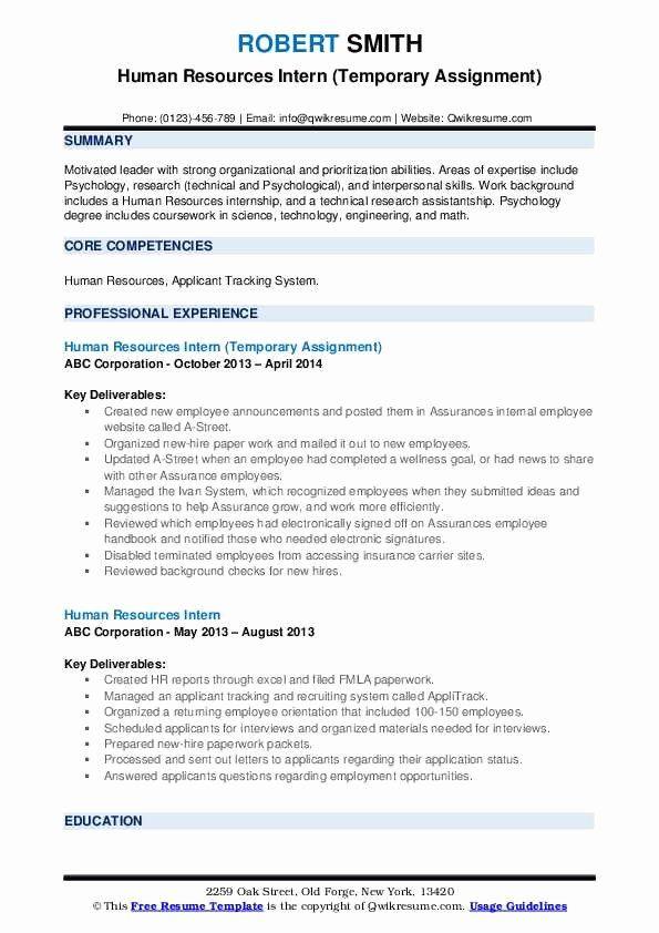 Human Resource Internship Resume Lovely Human Resources Intern Resume Samples In 2020 Resume Examples Job Resume Examples Job Resume Samples