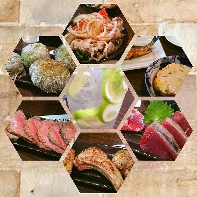 連休明けで早速よく飲んだーww 和牛の #冷しゃぶ に #かつお #あん肝 ってなったら行かないわけにはいかない(*´艸`*) #肉 も #魚 も #お酒 もたんまりでお腹いっぱい♡ごちそうさまでした♪  #ラム肉 #すだち #しそ #おにぎり #刺身 #nosashiminolife