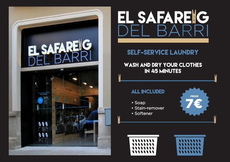 El Safareig del Barri is a self service laundry Barcelona. Laundromat in Eixample Barcelona. Washing machines large capacity, coin laundry system. Self service dryers. Lavanderia El Safareig del Barri. Aragó, 104 (esquina Compte Borrell) 08015 Barcelona Tel.: 93 461 68 78 - 669 74 90 28 Horario: L-D de 8 a 22 h. Todos los días del año. http://www.elsafareigdelbarri.com http://self-service-laundry-barcelona.blogspot.com.es https://www.youtube.com/channel/UCkcO1cU2ULBNm7F1mCjwCZg/videos