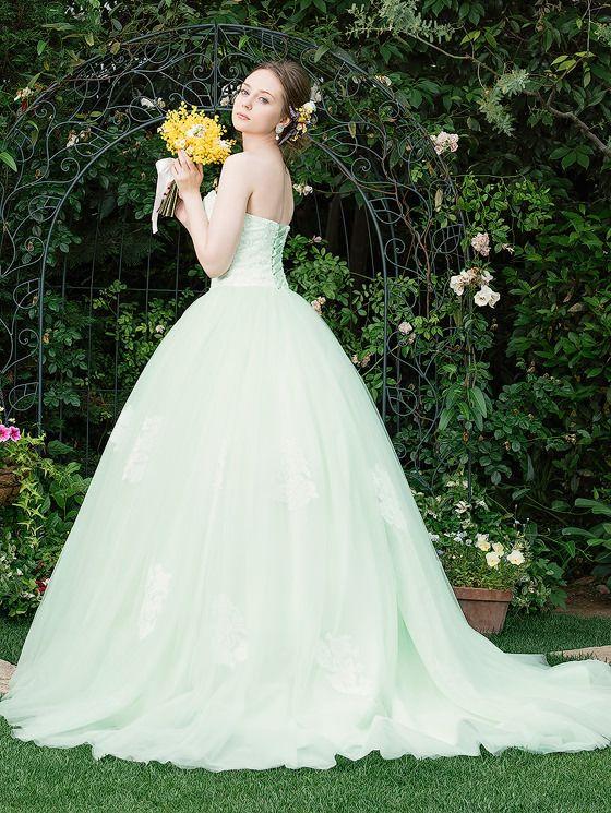 ティンカーベルのようにキュートなグリーンのカラードレス♡オーガンジーのカラードレス一覧♡
