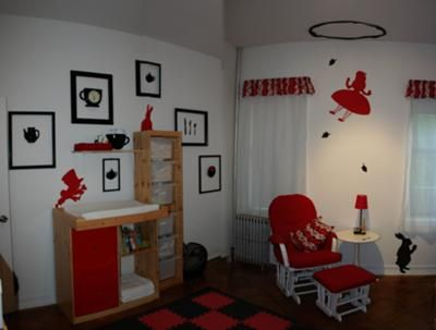 """Cute Alice in Wonderland Nursery theme ideas - love the silhouette of Alice """"falling"""" through the rabbit hole on the ceiling, and the checkerboard/chess board rug"""