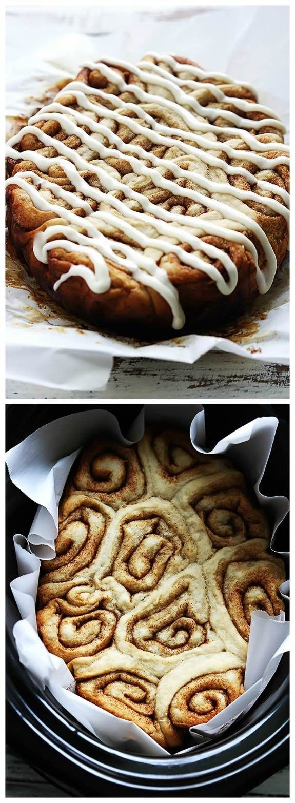 Slow Cooker Cinnamon Rolls from Creme de la Crumb; perfect to make during the holidays or any time you need a special breakfast.  [Featured on SlowCookerFromScratch.com]: