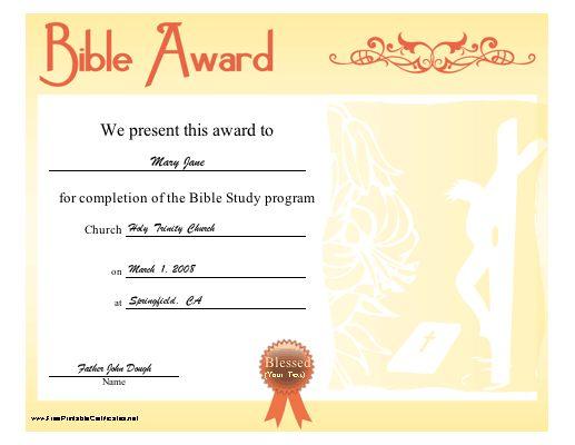 Bible Award Certificate - Free Printable Certificates