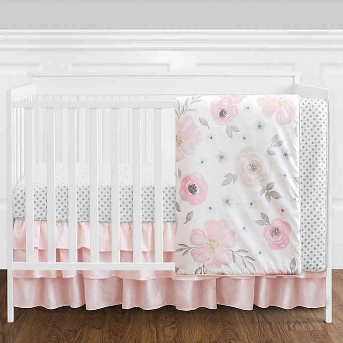 Sweet Jojo Designs Watercolor Floral 4 Piece Crib Bedding Set In Pink White Floral Crib Bedding Crib Bedding Girl Crib Bedding