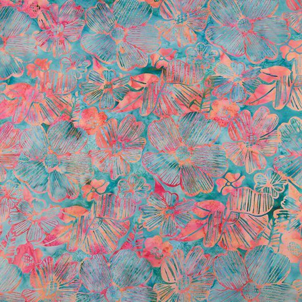 Bavlněná látka Batika Bali květy růžovo-tyrkys BB