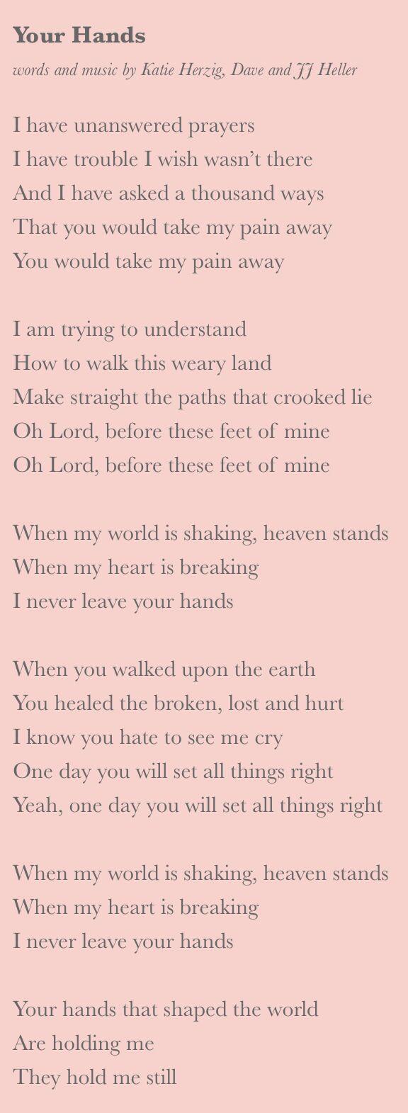 Your Hands Lyrics | JJ Heller