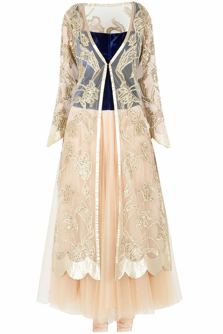 Nude jacket style anarkali set available only at Pernia's Pop-Up Shop.