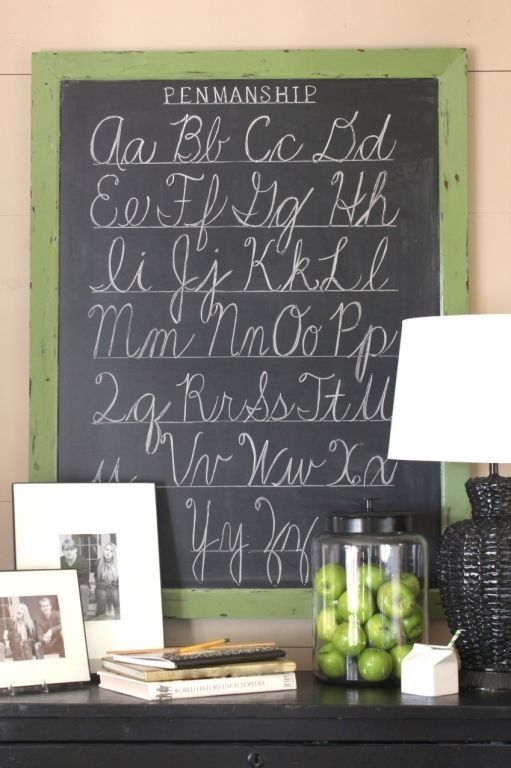 Talk of the House old school alphabet chalkboard in the playroom