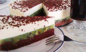 Výborný ovocný dort. Svěží dort s výborným ovocem - kiwi. Na vrchu tvarohový krém, posypaný strouhanou čokoládou. Hotová mňamka!