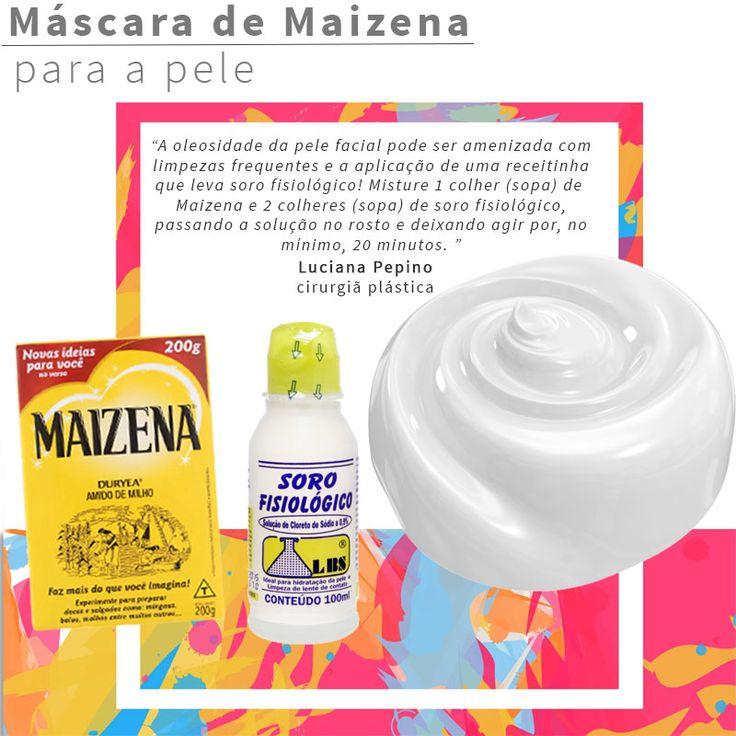 máscara de soro fisiológico e maizena no rosto para combater a oleosidade e os poros dilatados!