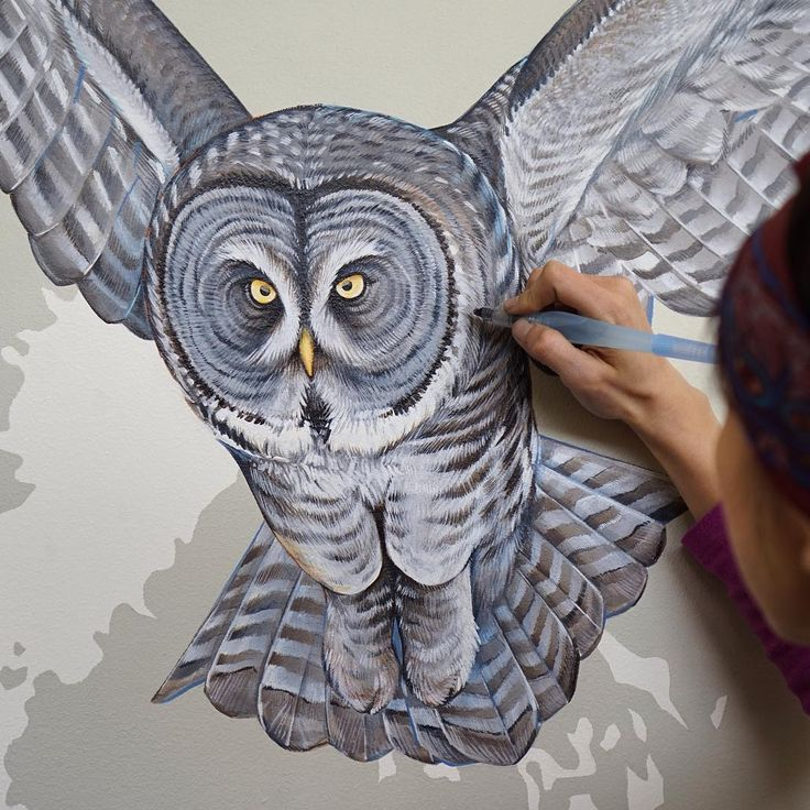 happy halloween owl halloween mural grey wing - Halloween Wall Mural