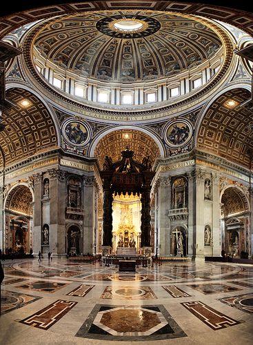 Citta+del+vaticano,+Basilica+di+San+Pietro,+Bernini's+Baldacchino+and+dome+of+Michelangelo+Buonarroti,+Roma+Italy
