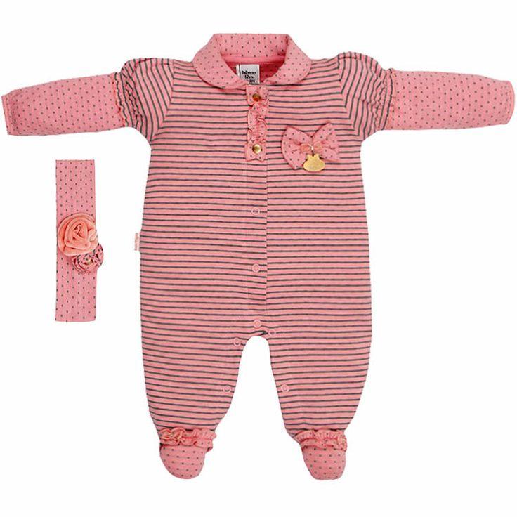 Macacão Bebê Menina em Malha Listrada Rosa - Sonho Mágico :: 764 Kids | Roupa bebê e infantil