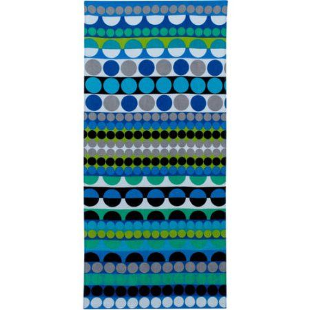 Mainstays Cotton Printed Beach Towel Stripe Dot Set Of 2 Blue