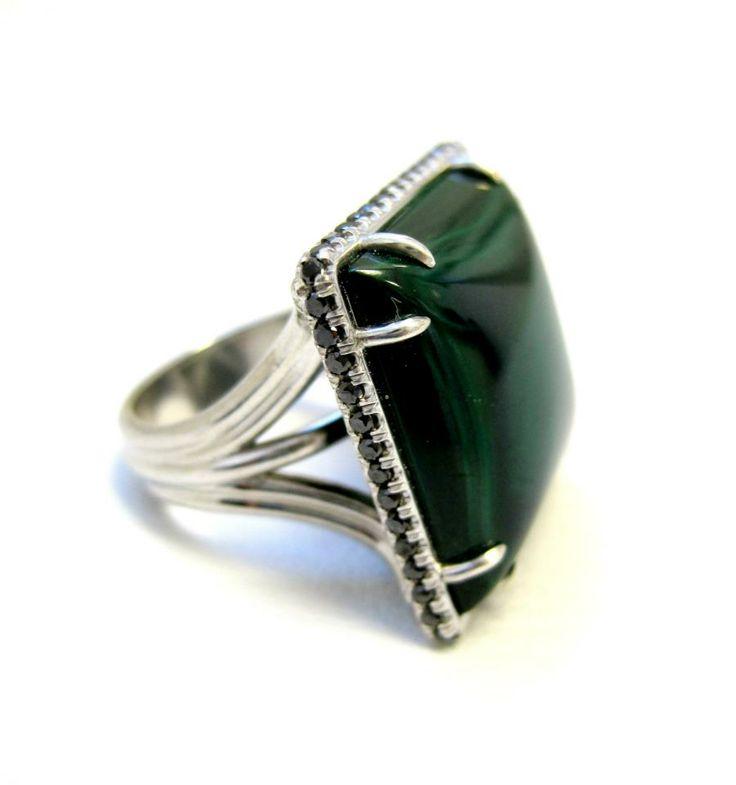 Asia Ring Malachite gem stone Sterling silver (925) rhodium plated 88 black round brilliant diamonds Micro pave set; 0.70 tcw Eagle claw prongs