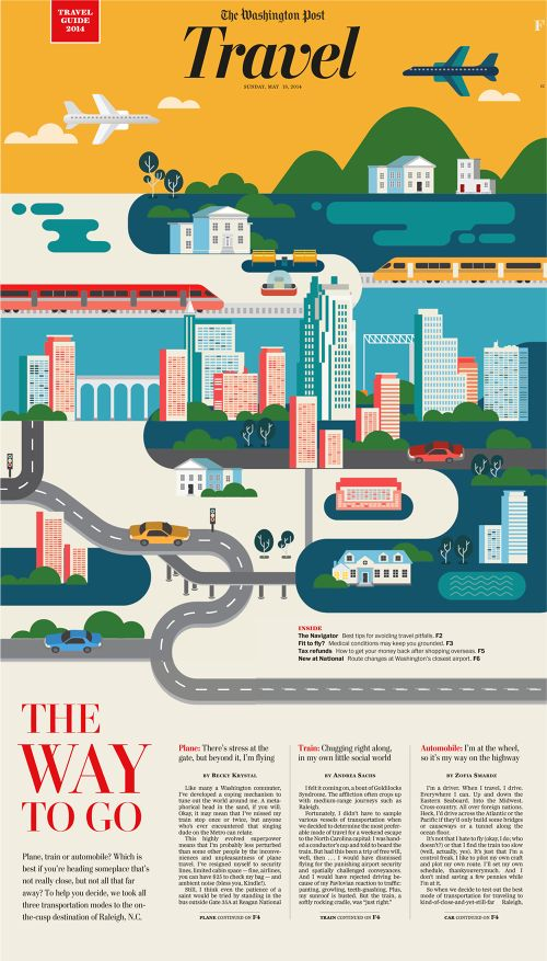 Bernstein & Andriulli Reps/Jing Zhang, illustrator. Really nice use of graphic shapes to create location. Is great match for our brand infographic-y illustration style and has bonus of working well with type we will need to superimpose.