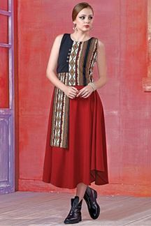 Show details for Enticing red kurti with colorful printing