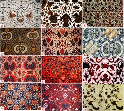 Classification of Yogya Semen Batik Motif: 25. Sawat Pengantin; 26. Nogo bisikan; 27. Lung Grageh Waluh; 28. Lung Babon Angrem; 29. Laras driya; 30. Kokrosono latar cemeng; 31. Kupu gandrung; 32. Kladuk manis; 33. Jaladri; 34. Cuwiri; 35. Candi brongto; 36. Buket Merak