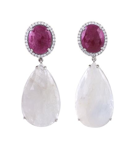 Beautiful earrings with rubies, white sapphires and diamonds set on white gold. Designed and handmade in Greece by Giouzenis Jewellery.