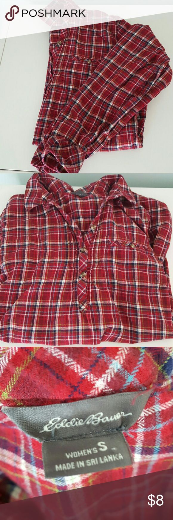 Vintage Eddie Bauer flannel tunic It's rare to find a flannel tunic! This top is super soft and incredibly cozy. EUC!  It is a tunic so the buttons only go half way down the front. The sleeves are full length but have side straps so you can roll them up and button them.  This top is perfect for flannel enthusiasts, spring hikers, and cuddly sleepers.  Buy before 12pm EST and I'll ship same day. Bundle with another item for a 20% discount! Eddie Bauer Tops Tunics