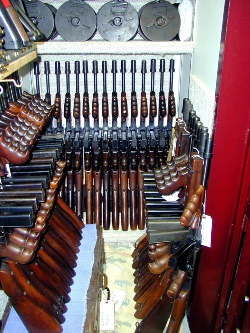 Vault o' Tommy Guns http://ammocollector.blogspot.com/ When I win the lottery this is what my closet will closely resemble :). So beautiful and inviting....