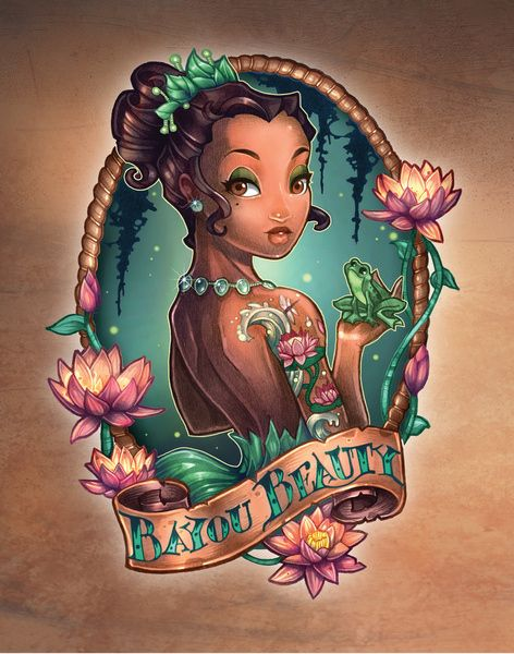 Tiana - La princesa y el sapo | 8 Disney Princesses As Fierce Vintage Tattooed Pin-Ups