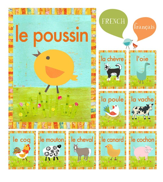 French farm animal flash cards