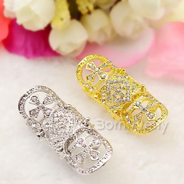 $5.99 5Pcs/set Heart Gemstone Rings Set Shining Rhinestone Decor Open Rings Tail Ring - BornPrettyStore.com
