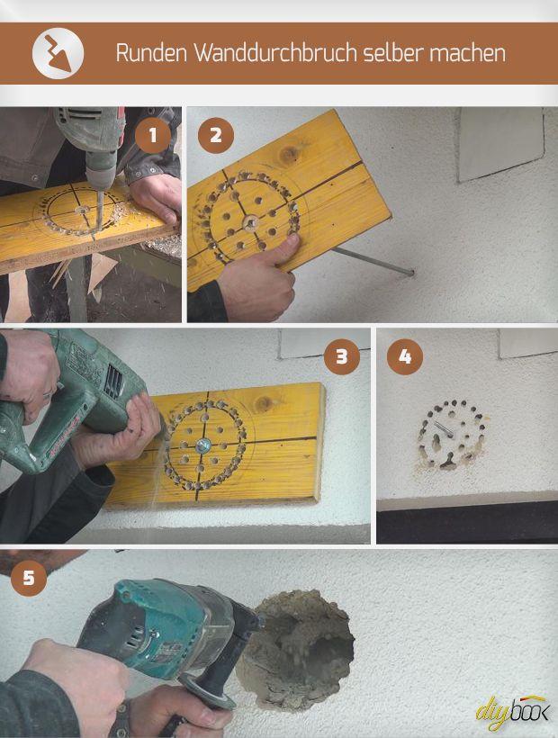 Oft ist ein nachträglicher Wanddurchbruch gefragt. Wir zeigen, wie sich mit einem Bohrhammer ein runder Wanddurchbruch selber machen lässt.