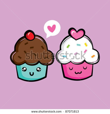 Dessert with cartoon faces on it | Cute Cupcake Icons Stock Vector 87071813 : Shutterstock
