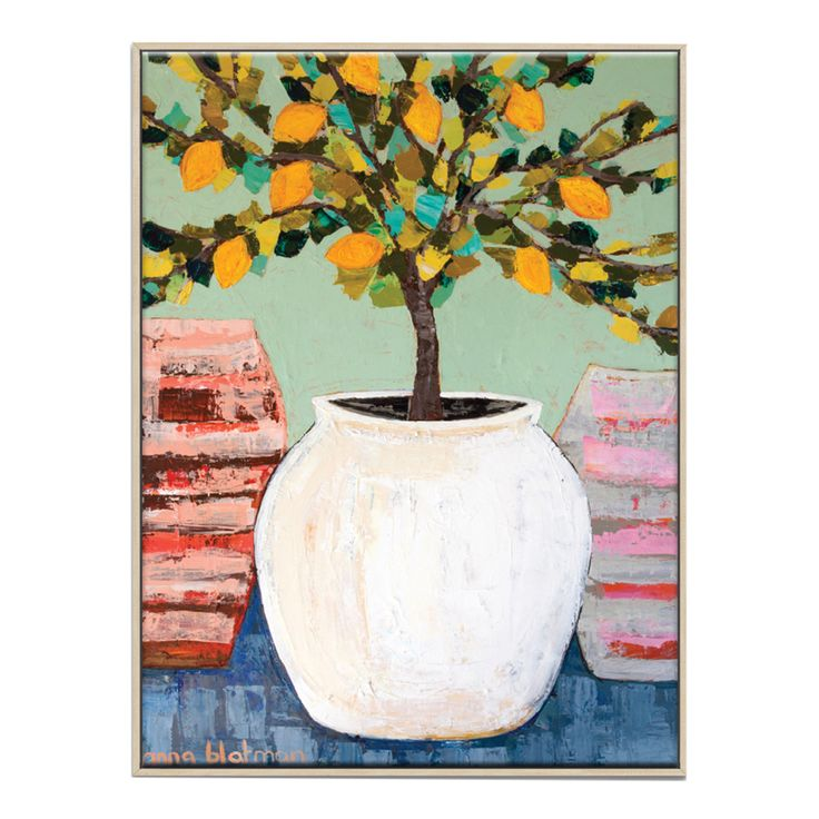 Anna Blatman | Lemon Tree In Pot  Framed Canvas | More Sizes by Artist Spotlight on THEHOME.COM.AU