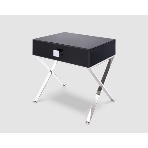 Black Glass Side Table with Chrome legs
