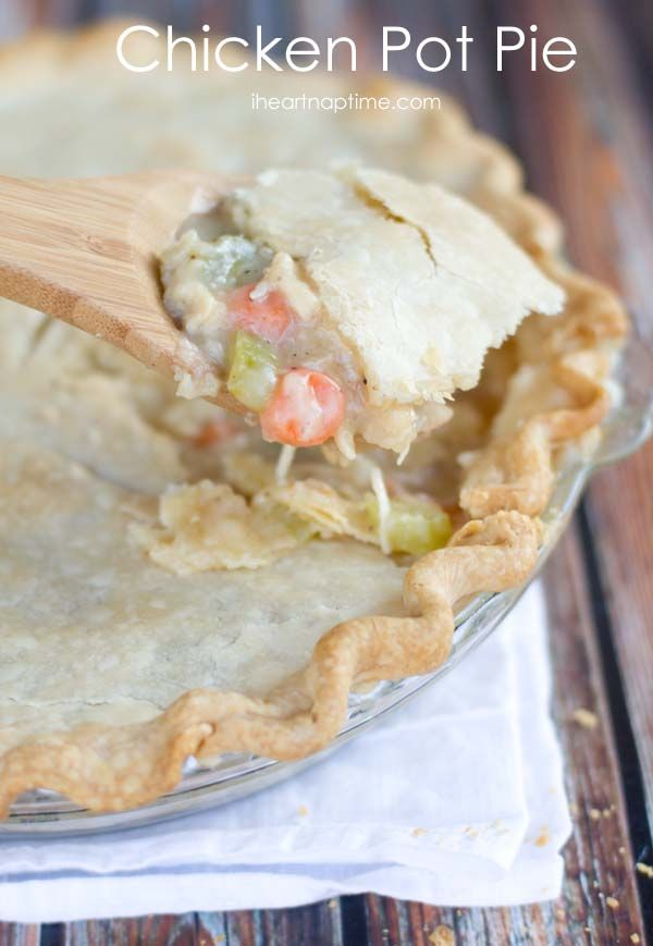 Homemade chicken pot pie from iheartnaptime.com  ... comfort food at it's finest! This #recipe is delicious!