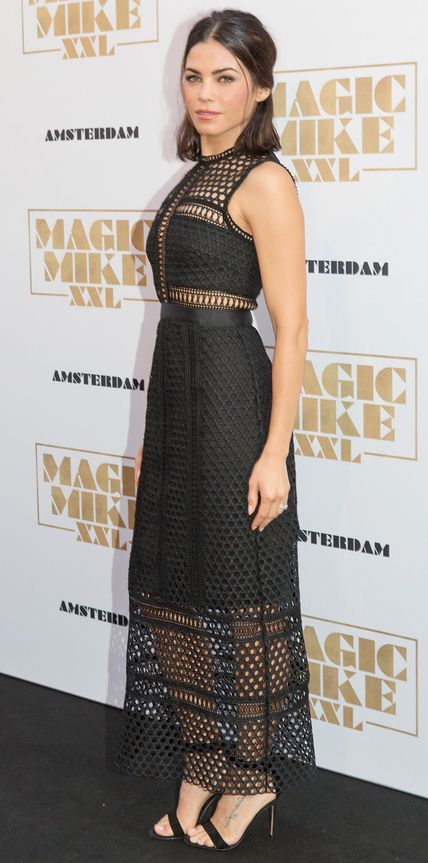 Jenna Dewan-Tatum supported her husband at the Amsterdam premiere of Magic Mike XXL in a black paneled macramé lace midi-length Self-Portrait number that revealed skin in all the right areas. She took the minimalist route with accessories and opted for simple black ankle-strap sandals.