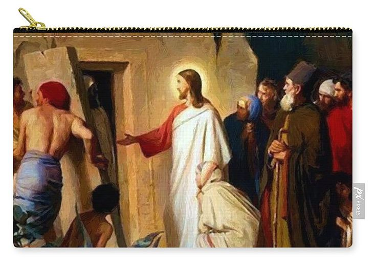 Raising Carry-all Pouch featuring the painting Raising Of Lazarus 1870 by Bloch Carl