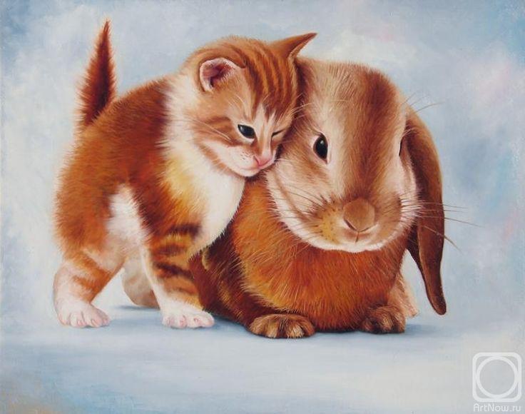 картинка крольчонок с котенком суши повара кафе