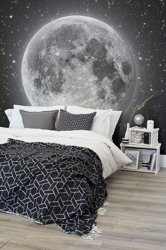 Moon and stars photo wallpaper