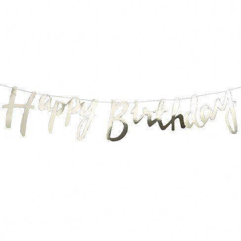 "Ghirlanda dorata ""Happy Birthday"" (mt 1,50) - Baby Party - Party e allestimenti"