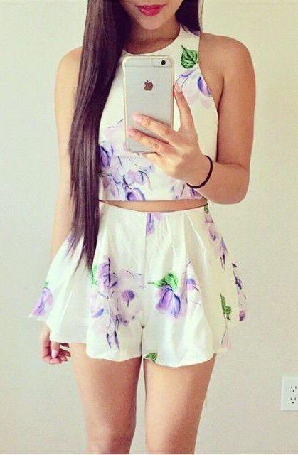 #summer #fashion / white floral romper