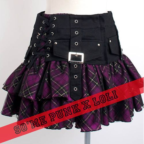 Cute Purple Plaid Gothic Lolita Punk Corset Micro Mini Skirts Clothing