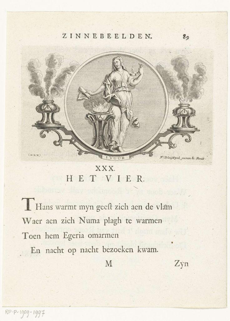 François van Bleyswijck | Embleem met allegorie op vuur, François van Bleyswijck, 1681 - 1737 | Embleem met allegorie op vuur verbeeld als Vestaalse maagd met olielamp en schriftrol, zij staat naast brandende offerschaal. In ronde omlijsting met ornamenten waarop twee wierrookvaten staan. Onder de voorstelling en op het verso staat een gedicht.